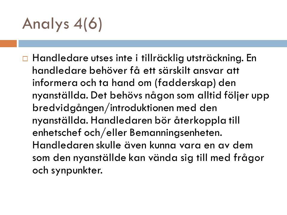 Analys 4(6)  Handledare utses inte i tillräcklig utsträckning.