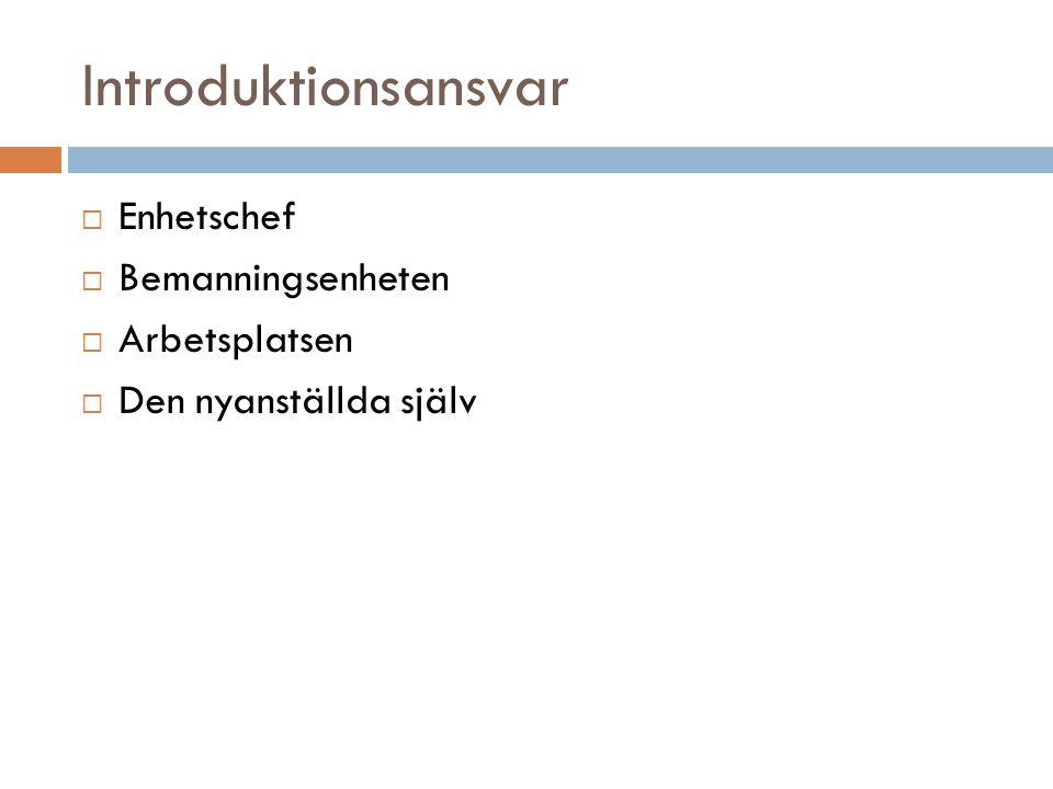 Introduktionens innehåll  Central information (dokument)  Kommungemensam informationsträff  Formella handlingar (sekretess m.m.)  Rutinbeskrivningar och checklistor  Bredvidgång