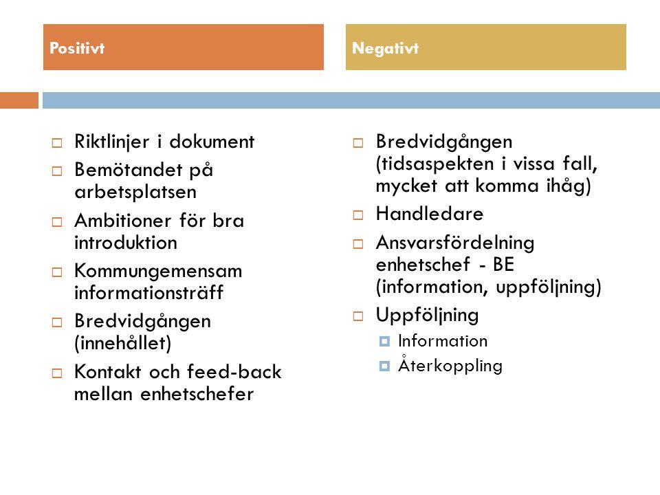 PositivtNegativt  Riktlinjer i dokument  Bemötandet på arbetsplatsen  Ambitioner för bra introduktion  Kommungemensam informationsträff  Bredvidgången (innehållet)  Kontakt och feed-back mellan enhetschefer  Bredvidgången (tidsaspekten i vissa fall, mycket att komma ihåg)  Handledare  Ansvarsfördelning enhetschef - BE (information, uppföljning)  Uppföljning  Information  Återkoppling