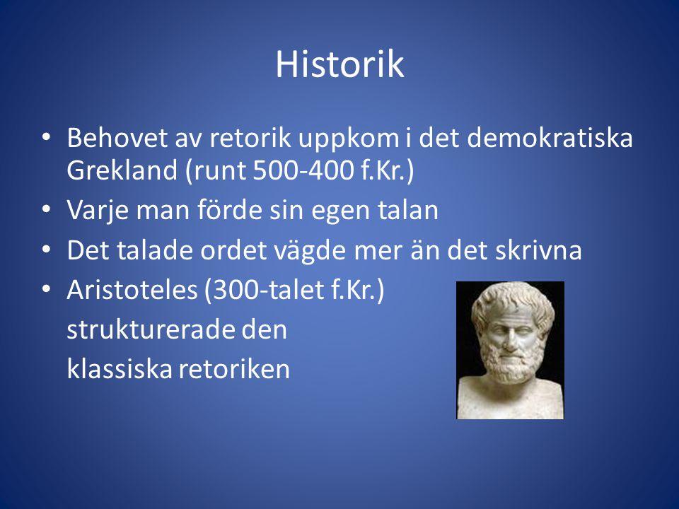 Historik Behovet av retorik uppkom i det demokratiska Grekland (runt 500-400 f.Kr.) Varje man förde sin egen talan Det talade ordet vägde mer än det skrivna Aristoteles (300-talet f.Kr.) strukturerade den klassiska retoriken