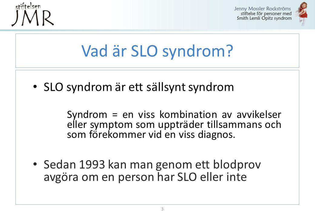 Vad är SLO syndrom? SLO syndrom är ett sällsynt syndrom Syndrom = en viss kombination av avvikelser eller symptom som uppträder tillsammans och som fö