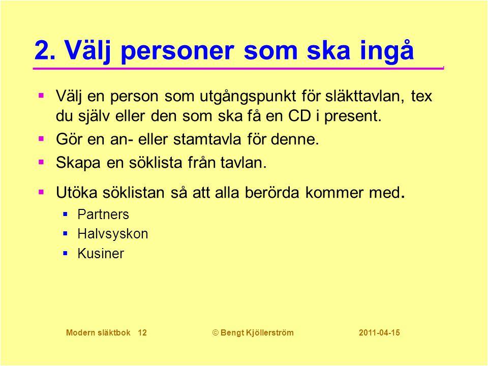 Modern släktbok 12© Bengt Kjöllerström 2011-04-15 2. Välj personer som ska ingå  Välj en person som utgångspunkt för släkttavlan, tex du själv eller