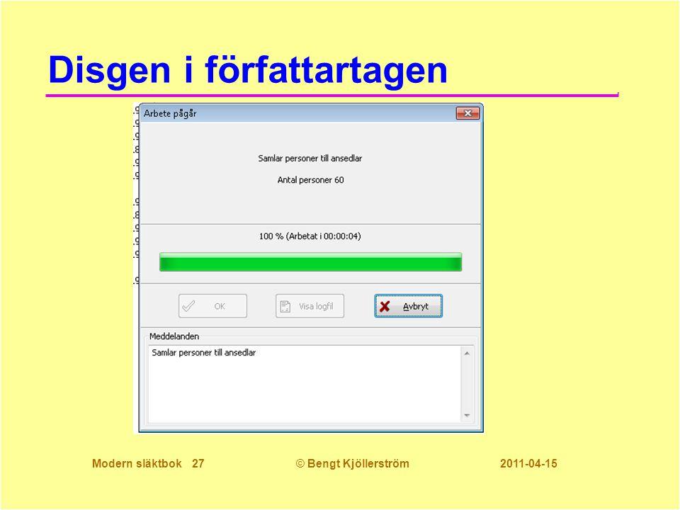 Modern släktbok 27© Bengt Kjöllerström 2011-04-15 Disgen i författartagen