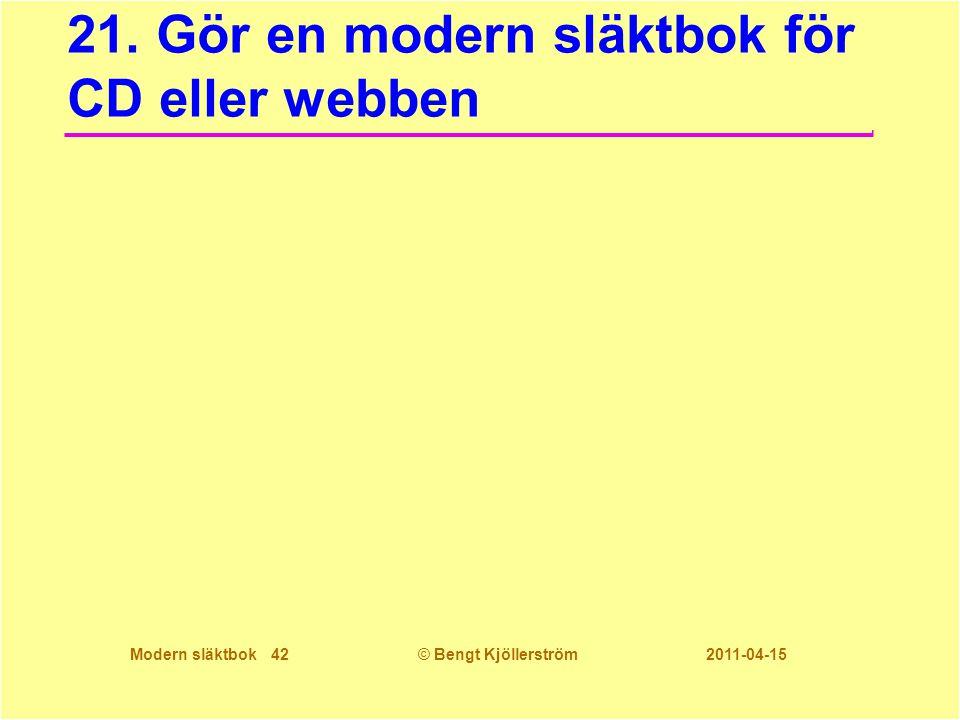 Modern släktbok 42© Bengt Kjöllerström 2011-04-15 21. Gör en modern släktbok för CD eller webben