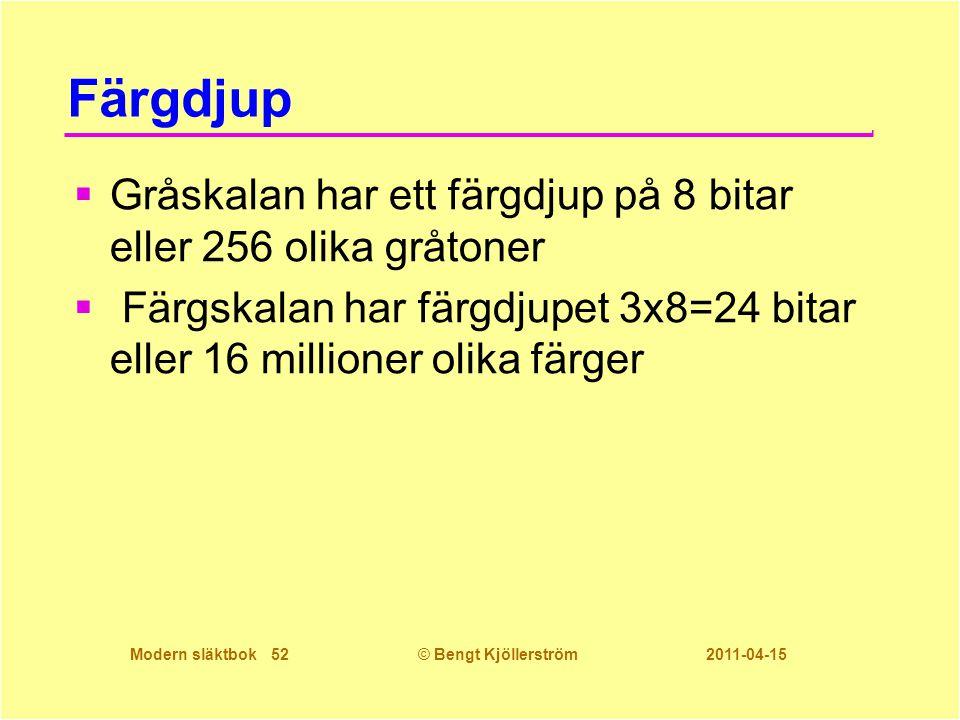 Modern släktbok 52© Bengt Kjöllerström 2011-04-15 Färgdjup  Gråskalan har ett färgdjup på 8 bitar eller 256 olika gråtoner  Färgskalan har färgdjupe