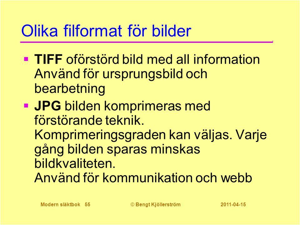 Modern släktbok 55© Bengt Kjöllerström 2011-04-15 Olika filformat för bilder  TIFF oförstörd bild med all information Använd för ursprungsbild och be