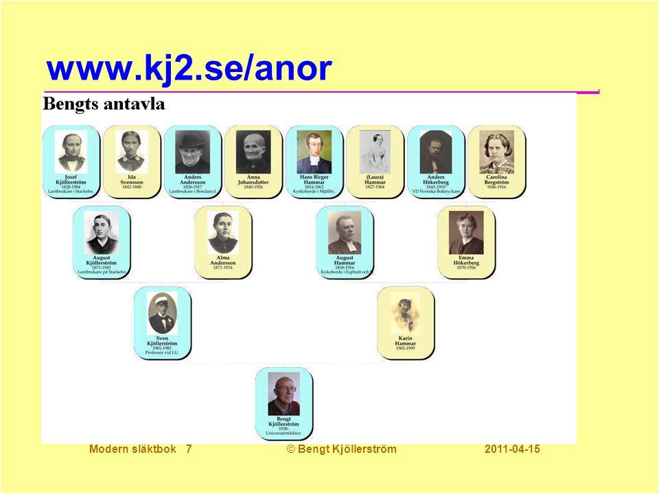 Modern släktbok 7© Bengt Kjöllerström 2011-04-15 www.kj2.se/anor