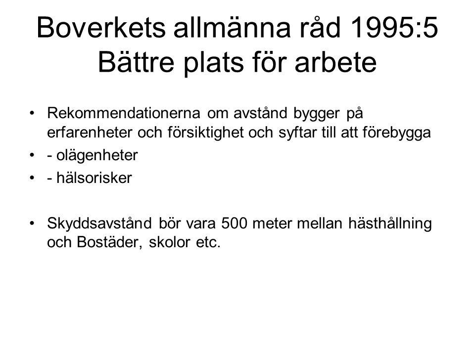 Boverkets allmänna råd 1995:5 Bättre plats för arbete Rekommendationerna om avstånd bygger på erfarenheter och försiktighet och syftar till att föreby