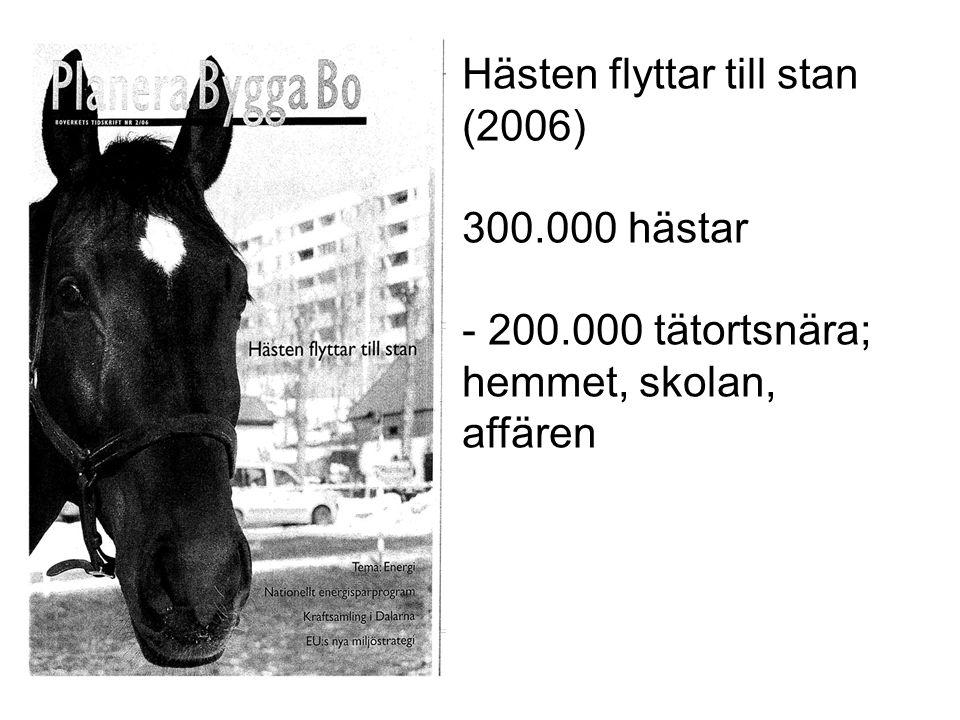 Hästen flyttar till stan (2006) 300.000 hästar - 200.000 tätortsnära; hemmet, skolan, affären