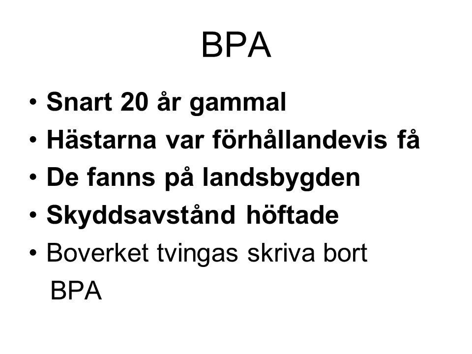 BPA Snart 20 år gammal Hästarna var förhållandevis få De fanns på landsbygden Skyddsavstånd höftade Boverket tvingas skriva bort BPA