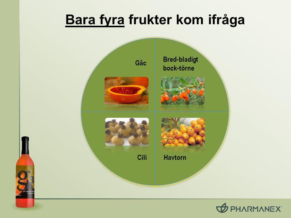 Andra superfrukter i g3 *Forskning på cili, ej g3 Cili (Rosa roxburghii) Växer i Kina, framför allt i Guizhou- bergen Unika polyfenoler Kungen av C-vitamin : C-vitamin är en antioxidant som skyddar kroppens celler