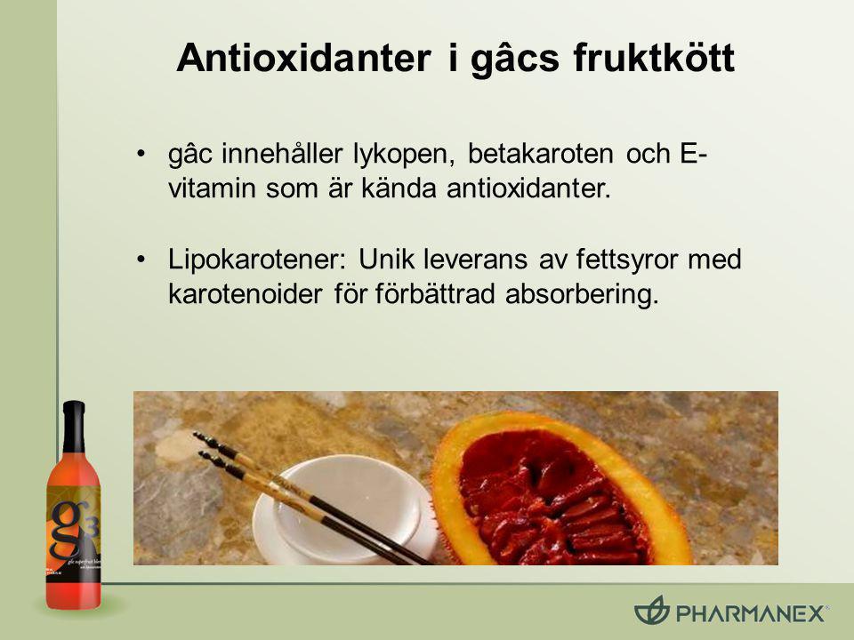 Lipokarotener Unik leverans Gâc & havtorn: –Innehåller fettsyror (unika bland frukter) –Karotenoider & E-vitamin redan lösta i fettsyror Lipokarotener: en matris av fettsyror med karotenoider –40 % högre plasma-absorbering* –55 % högre SCS-resultat* *Jämfört med vanliga karotenoider