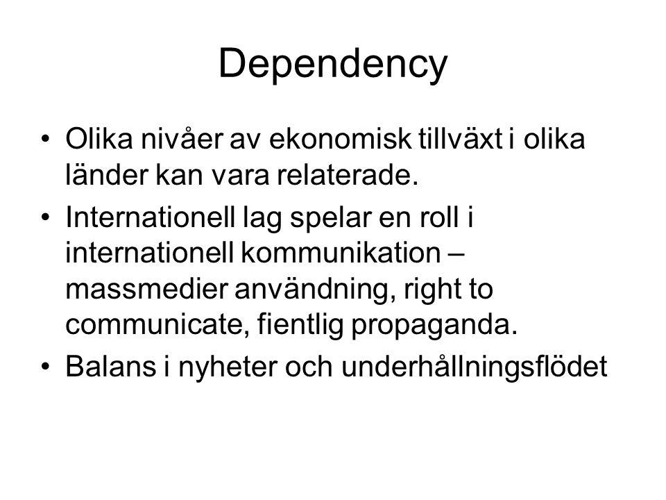Dependency Olika nivåer av ekonomisk tillväxt i olika länder kan vara relaterade.