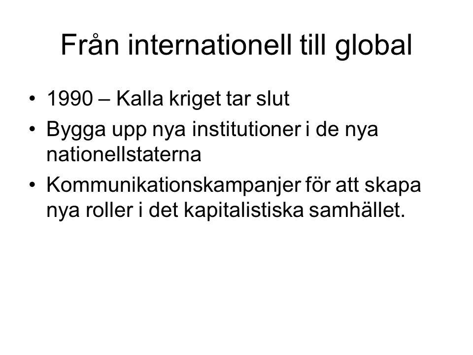 Från internationell till global 1990 – Kalla kriget tar slut Bygga upp nya institutioner i de nya nationellstaterna Kommunikationskampanjer för att skapa nya roller i det kapitalistiska samhället.