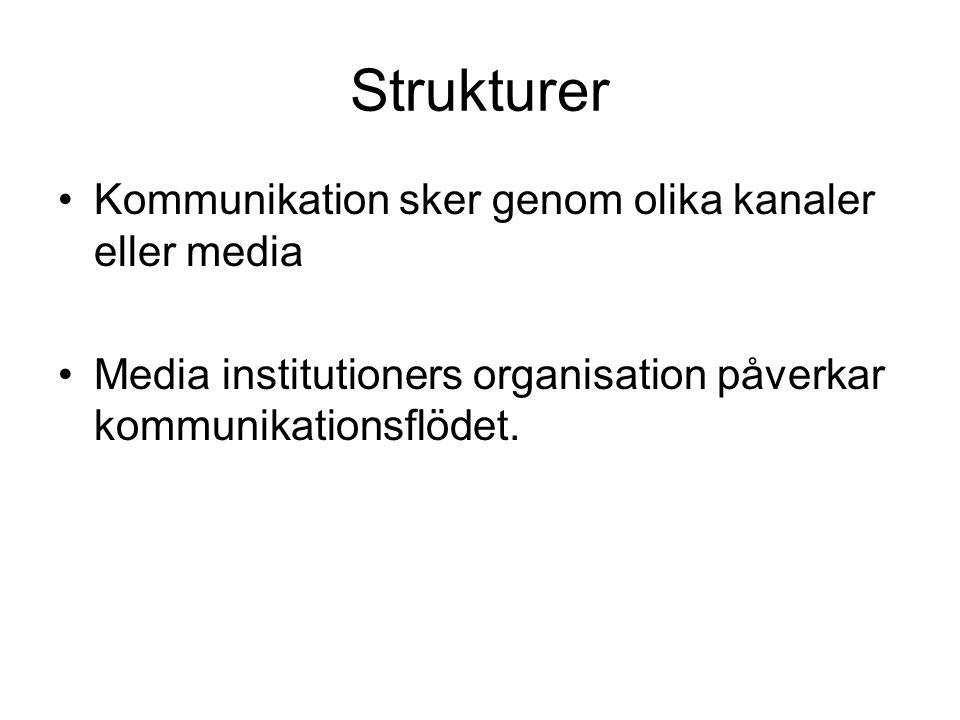 Strukturer Kommunikation sker genom olika kanaler eller media Media institutioners organisation påverkar kommunikationsflödet.