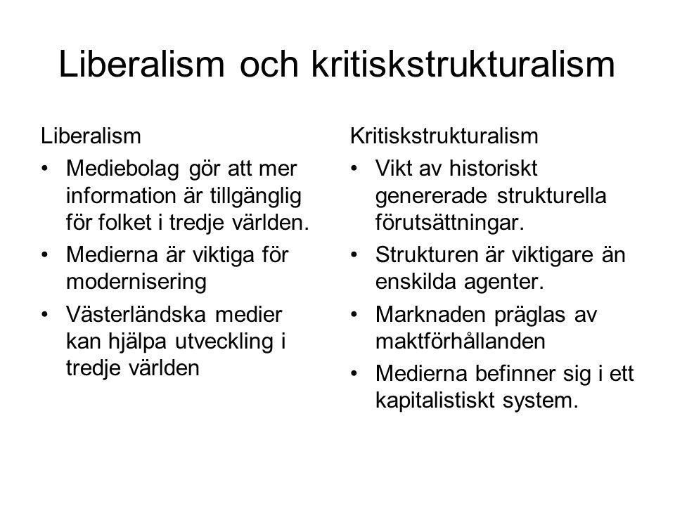 Liberalism och kritiskstrukturalism Liberalism Mediebolag gör att mer information är tillgänglig för folket i tredje världen.