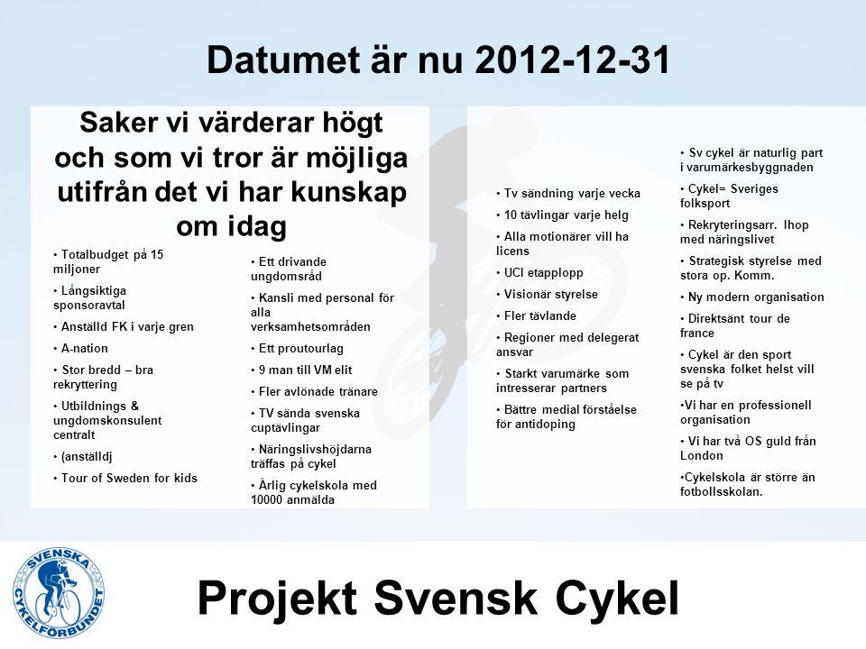 Projekt Svensk Cykel Datumet är nu 2012-12-31 6st möjliga fokuseringar mot 2012 Långsiktiga sponsoravtal + 16p Kansli med personal för alla verksamhetsområden + 10p Ett proutourlag + 4p UCI etapplopp + 2p Stort varumärke som intresserar partner + 2p 9 man till VM elit + 6 dam +2p Övriga tydliga möjligheter och effekter Totalbudget på 15 miljoner Långsiktiga sponsoravtal Anställd FK i varje gren A-nation Stor bredd – bra rekryttering Utbildnings & ungdomskonsulent centralt (anställdj Tour of Sweden for kids Ett drivande ungdomsråd Kansli med personal för alla verksamhetsområden Ett proutourlag 9 man till VM elit Fler avlönade tränare TV sända svenska cuptävlingar Näringslivshöjdarna träffas på cykel Årlig cykelskola med 10000 anmälda