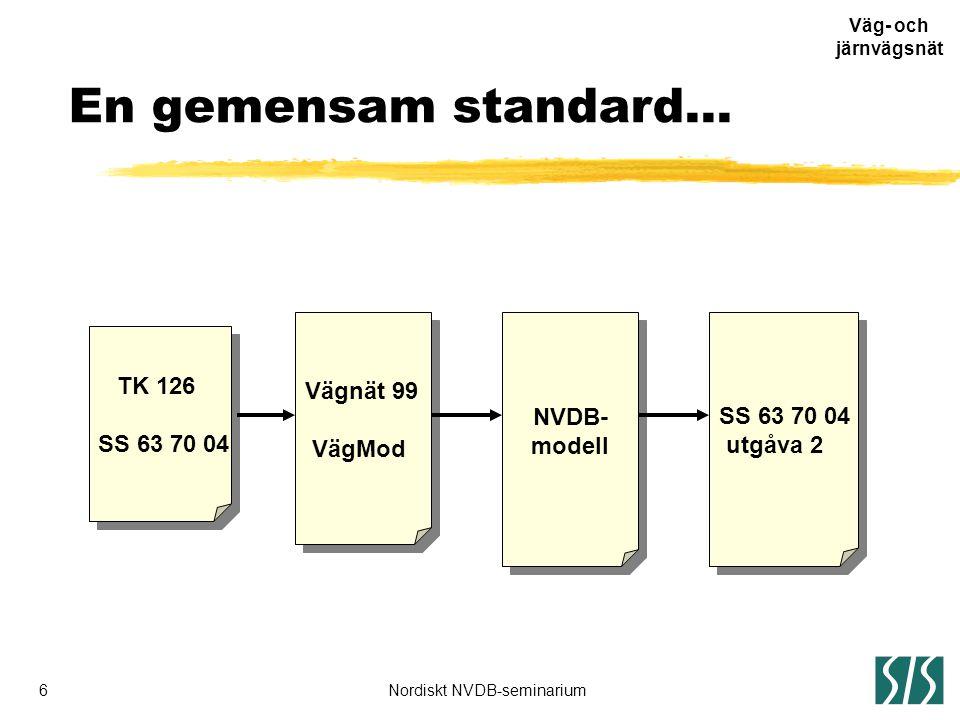 6Nordiskt NVDB-seminarium Väg- och järnvägsnät SS 63 70 04 utgåva 2 SS 63 70 04 utgåva 2 TK 126 SS 63 70 04 TK 126 SS 63 70 04 Vägnät 99 VägMod Vägnät 99 VägMod NVDB- modell NVDB- modell En gemensam standard...