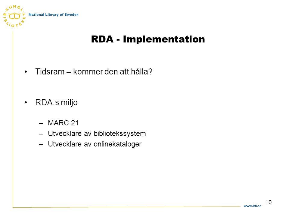 www.kb.se 10 RDA - Implementation Tidsram – kommer den att hålla.
