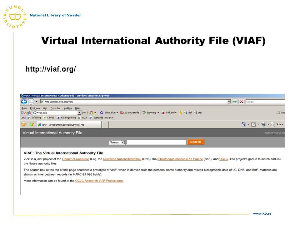 www.kb.se Virtual International Authority File (VIAF) http://viaf.org/