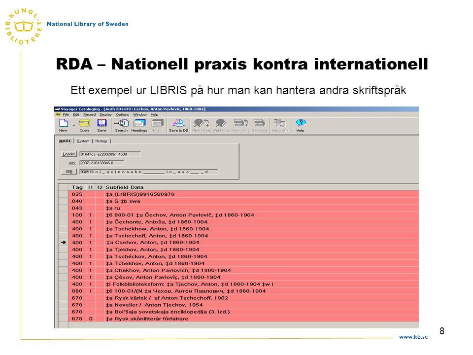www.kb.se 8 RDA – Nationell praxis kontra internationell Ett exempel ur LIBRIS på hur man kan hantera andra skriftspråk