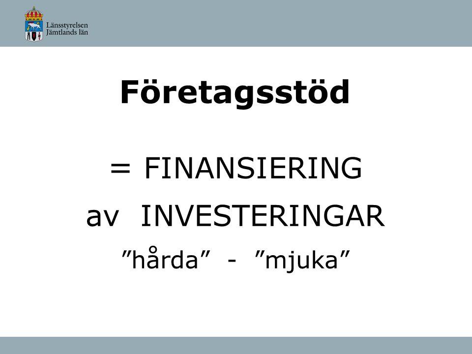 """Företagsstöd = FINANSIERING av INVESTERINGAR """"hårda"""" - """"mjuka"""""""
