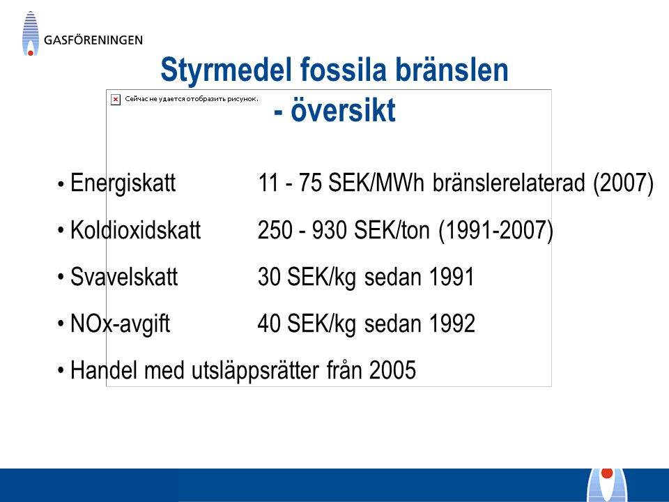 Styrmedel fossila bränslen - översikt Energiskatt 11 - 75 SEK/MWh bränslerelaterad (2007) Koldioxidskatt250 - 930 SEK/ton (1991-2007) Svavelskatt30 SE