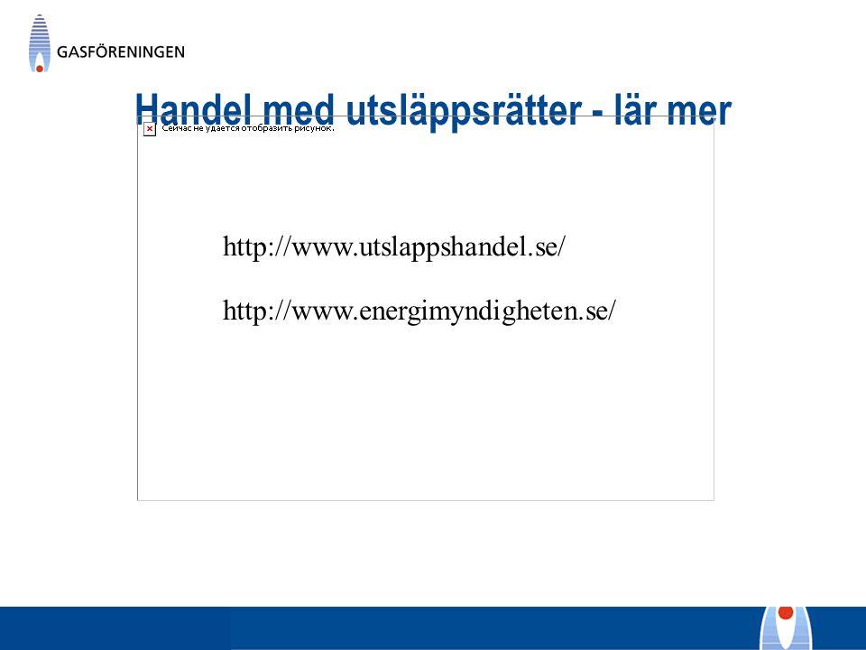 Handel med utsläppsrätter - lär mer http://www.utslappshandel.se/ http://www.energimyndigheten.se/
