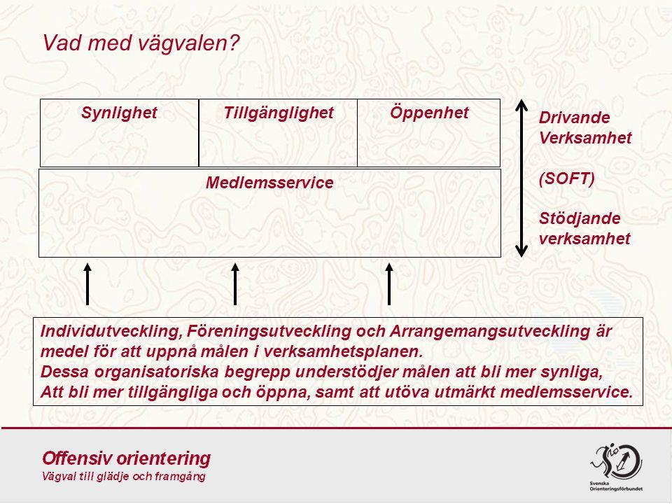 Vad med vägvalen? Medlemsservice SynlighetTillgänglighetÖppenhet Drivande Verksamhet (SOFT) Stödjande verksamhet Individutveckling, Föreningsutvecklin
