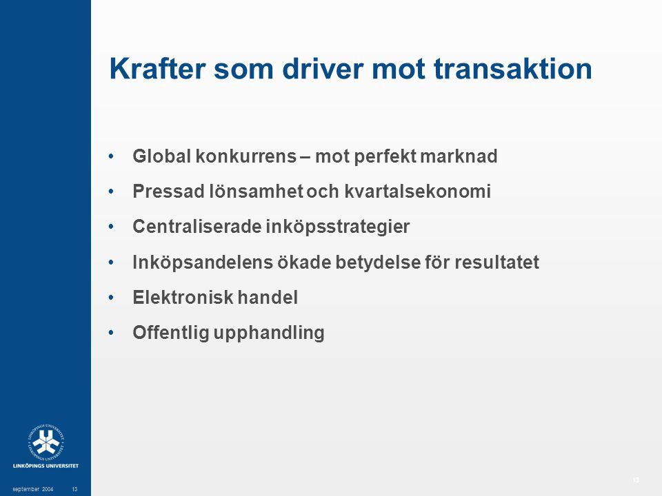 13 september 200413 Krafter som driver mot transaktion Global konkurrens – mot perfekt marknad Pressad lönsamhet och kvartalsekonomi Centraliserade in