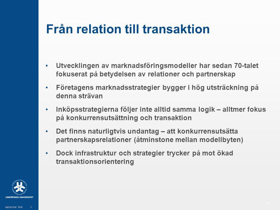 3 september 20043 Från relation till transaktion Utvecklingen av marknadsföringsmodeller har sedan 70-talet fokuserat på betydelsen av relationer och