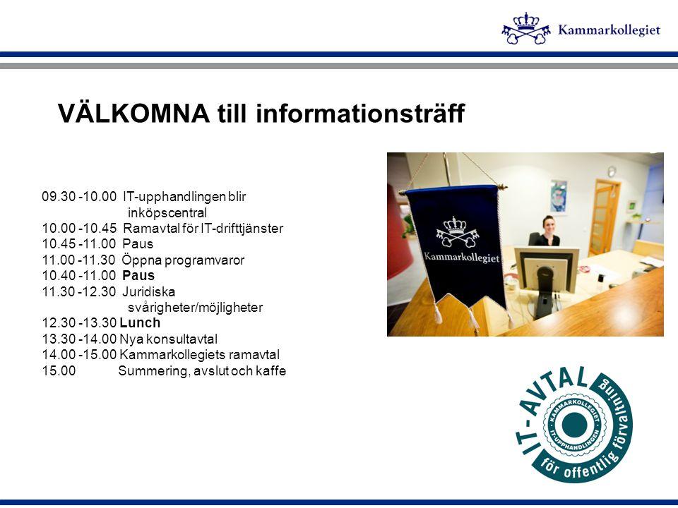 VÄLKOMNA till informationsträff 09.30 -10.00 IT-upphandlingen blir inköpscentral 10.00 -10.45 Ramavtal för IT-drifttjänster 10.45 -11.00 Paus 11.00 -1