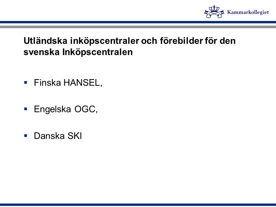 Utländska inköpscentraler och förebilder för den svenska Inköpscentralen  Finska HANSEL,  Engelska OGC,  Danska SKI