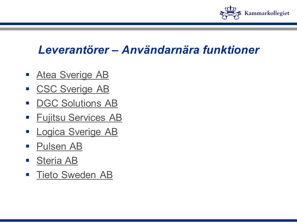 Leverantörer – Användarnära funktioner  Atea Sverige AB Atea Sverige AB  CSC Sverige AB CSC Sverige AB  DGC Solutions AB DGC Solutions AB  Fujitsu