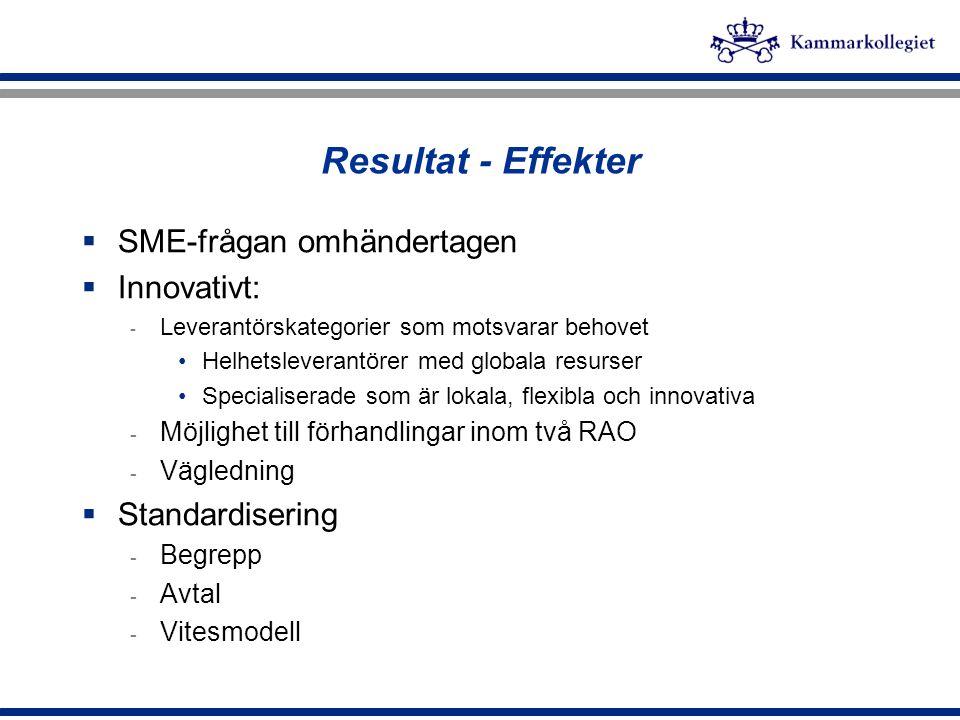 Resultat - Effekter  SME-frågan omhändertagen  Innovativt: - Leverantörskategorier som motsvarar behovet Helhetsleverantörer med globala resurser Sp