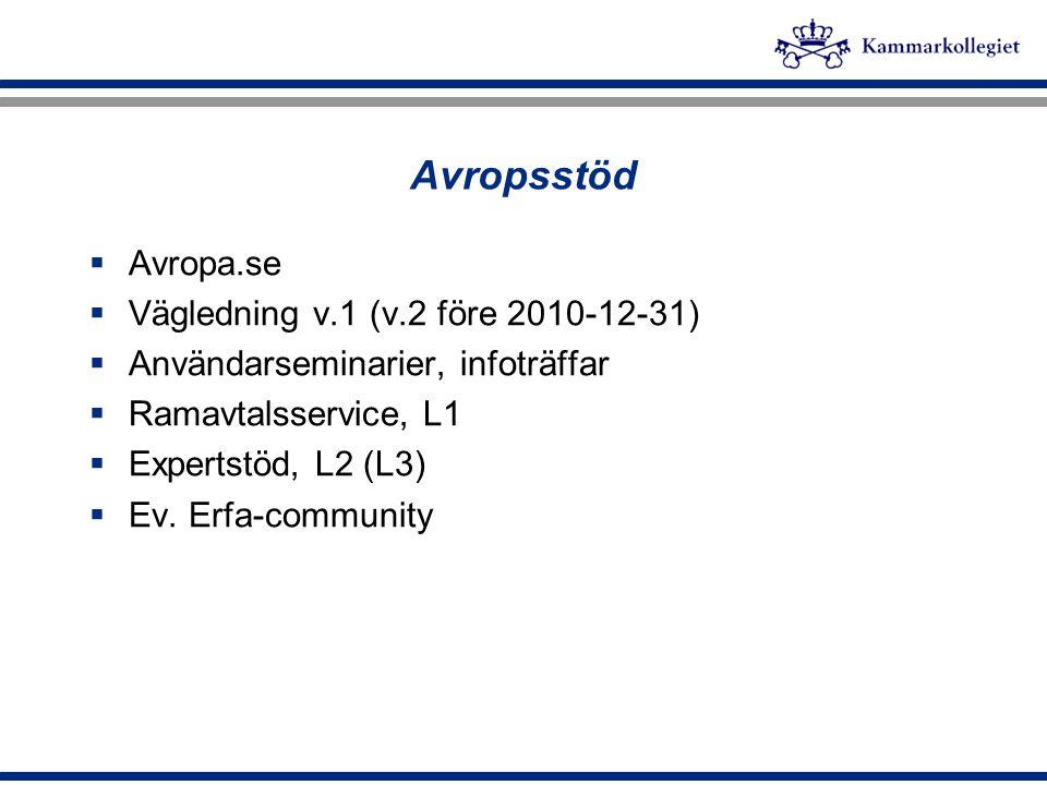 Avropsstöd  Avropa.se  Vägledning v.1 (v.2 före 2010-12-31)  Användarseminarier, infoträffar  Ramavtalsservice, L1  Expertstöd, L2 (L3)  Ev. Erf