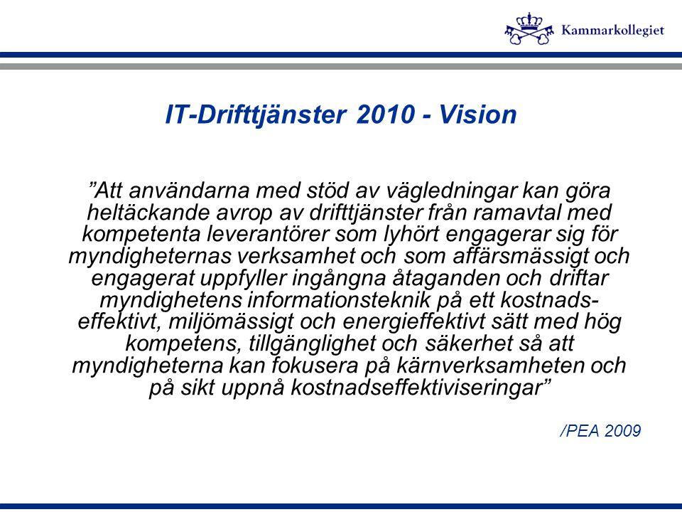 """IT-Drifttjänster 2010 - Vision """"Att användarna med stöd av vägledningar kan göra heltäckande avrop av drifttjänster från ramavtal med kompetenta lever"""