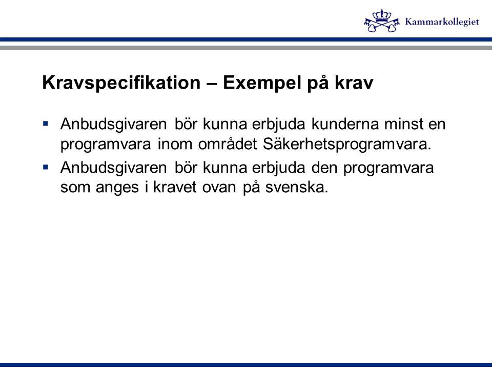 Kravspecifikation – Exempel på krav  Anbudsgivaren bör kunna erbjuda kunderna minst en programvara inom området Säkerhetsprogramvara.  Anbudsgivaren
