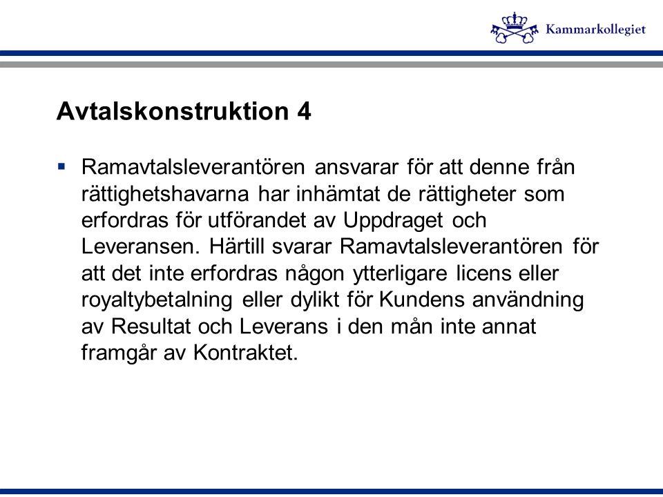 Avtalskonstruktion 4  Ramavtalsleverantören ansvarar för att denne från rättighetshavarna har inhämtat de rättigheter som erfordras för utförandet av