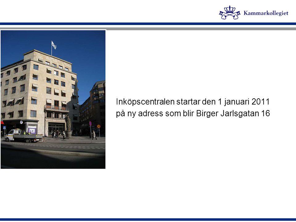 Inköpscentralen startar den 1 januari 2011 på ny adress som blir Birger Jarlsgatan 16