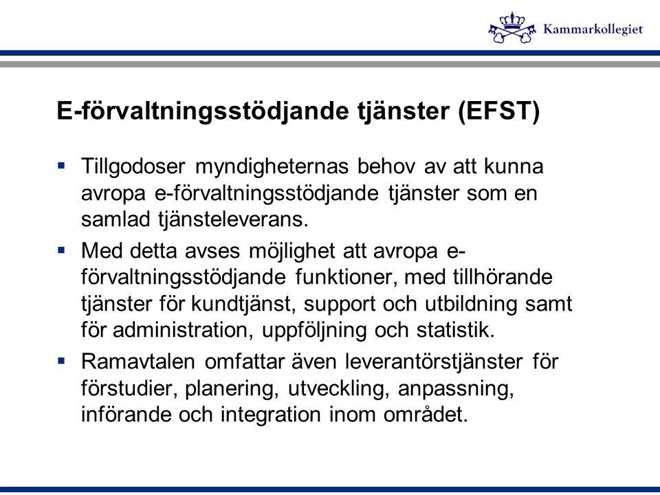 E-förvaltningsstödjande tjänster (EFST)  Tillgodoser myndigheternas behov av att kunna avropa e-förvaltningsstödjande tjänster som en samlad tjänstel