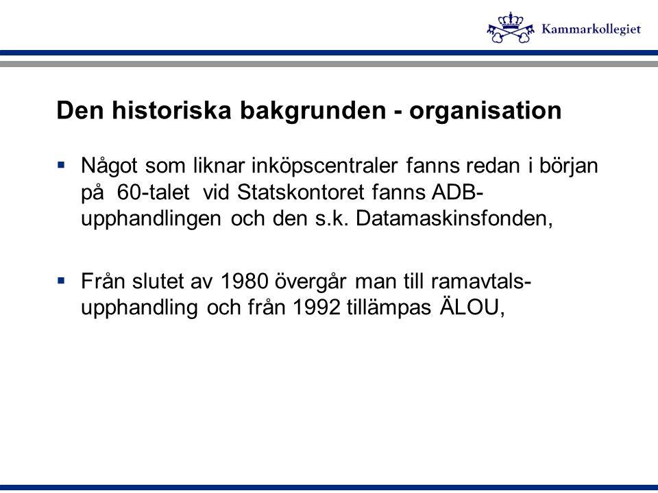 Den historiska bakgrunden - organisation  Något som liknar inköpscentraler fanns redan i början på 60-talet vid Statskontoret fanns ADB- upphandlinge