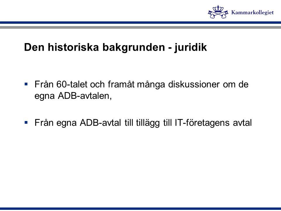 Den historiska bakgrunden - juridik  Från 60-talet och framåt många diskussioner om de egna ADB-avtalen,  Från egna ADB-avtal till tillägg till IT-f