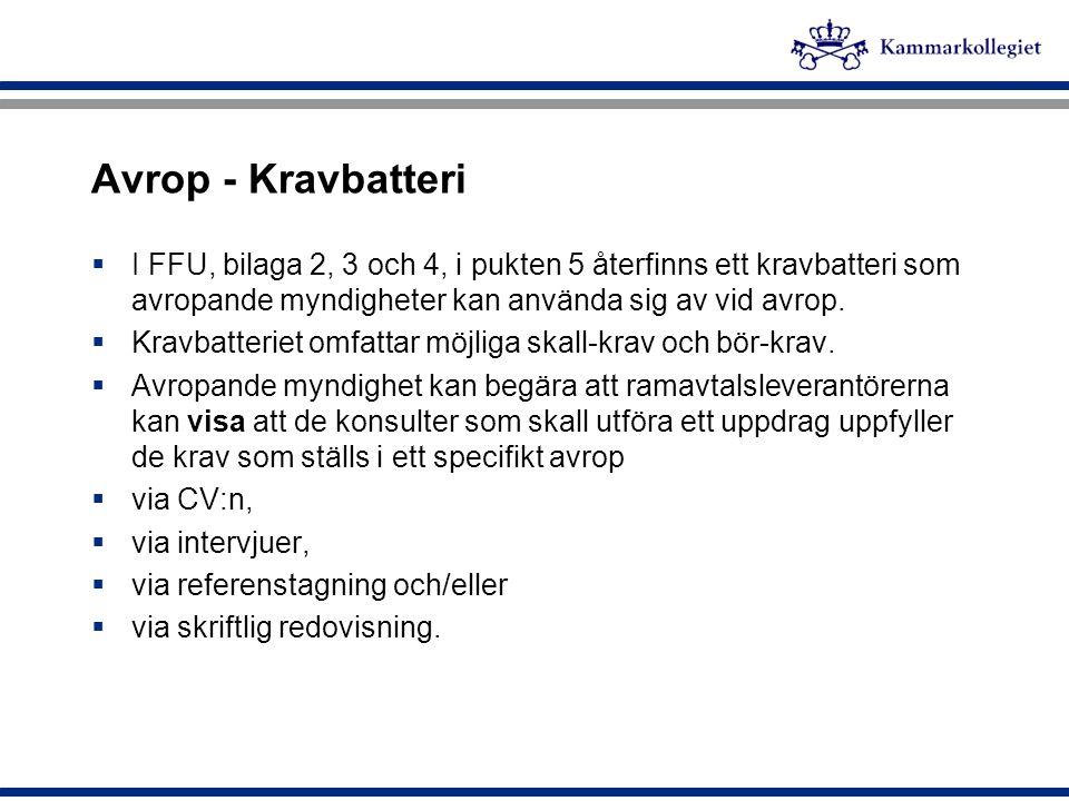 Avrop - Kravbatteri  I FFU, bilaga 2, 3 och 4, i pukten 5 återfinns ett kravbatteri som avropande myndigheter kan använda sig av vid avrop.  Kravbat