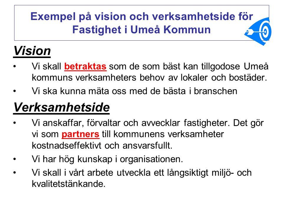 Vision Vi skall betraktas som de som bäst kan tillgodose Umeå kommuns verksamheters behov av lokaler och bostäder. Vi ska kunna mäta oss med de bästa