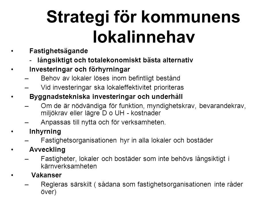 Strategi för kommunens lokalinnehav Fastighetsägande - långsiktigt och totalekonomiskt bästa alternativ Investeringar och förhyrningar –Behov av lokal