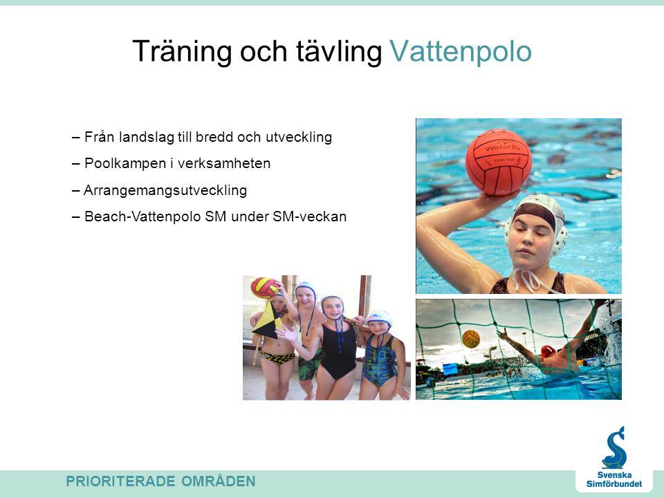 Träning och tävling Vattenpolo PRIORITERADE OMRÅDEN – Från landslag till bredd och utveckling – Poolkampen i verksamheten – Arrangemangsutveckling – Beach-Vattenpolo SM under SM-veckan
