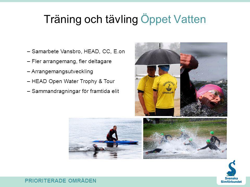 Träning och tävling Öppet Vatten PRIORITERADE OMRÅDEN – Samarbete Vansbro, HEAD, CC, E.on – Fler arrangemang, fler deltagare – Arrangemangsutveckling