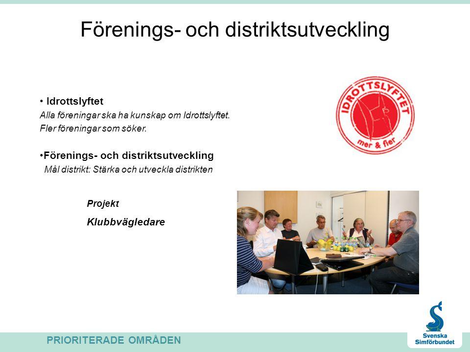 Förenings- och distriktsutveckling Idrottslyftet Alla föreningar ska ha kunskap om Idrottslyftet.