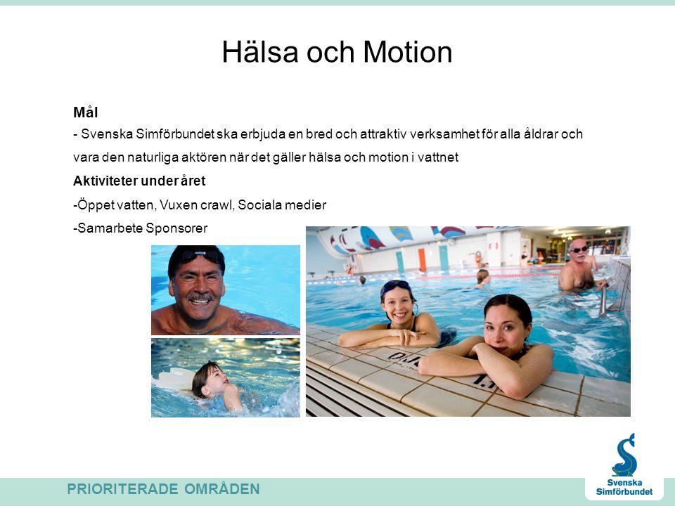 Hälsa och Motion Mål - Svenska Simförbundet ska erbjuda en bred och attraktiv verksamhet för alla åldrar och vara den naturliga aktören när det gäller hälsa och motion i vattnet Aktiviteter under året -Öppet vatten, Vuxen crawl, Sociala medier -Samarbete Sponsorer PRIORITERADE OMRÅDEN